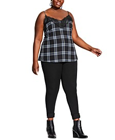 Trendy Plus Size Checked Lace Cami