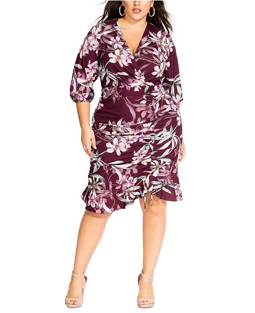 Trendy Plus Size Winter Lily Printed Faux-Wrap Dress