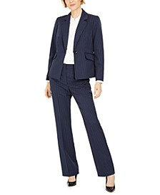 Petite Pinstriped Pants Suit