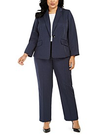 Plus Size Pinstriped Pants Suit