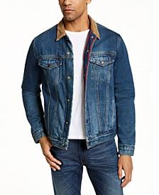 Men's Corduroy Collar Plaid Lined Trucker Jacket