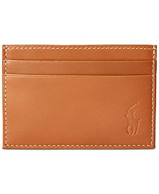 Men's Burnished Leather Card Case with Money Clip