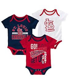 Baby St. Louis Cardinals Newest Rookie 3 Piece Bodysuit Set