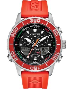 Eco-Drive Men's Promaster Sailhawk Analog-Digital Orange Polyurethane Strap Watch 44mm