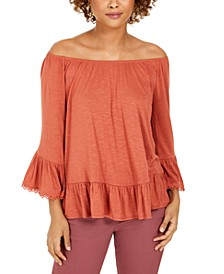 Petite Off-The-Shoulder Ruffled Top, Created for Macy's
