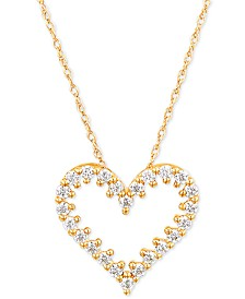 "Diamond Heart 18"" Pendant Necklace (1/4 ct. t.w.) in 10k Gold"