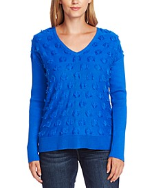 Cotton Fringe-Dot Sweater