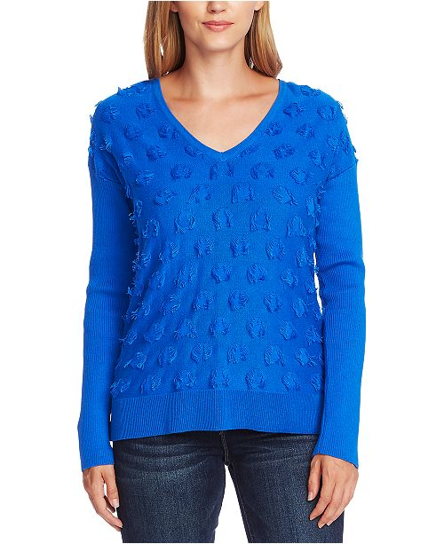 Vince Camuto Cotton Fringe-Dot Sweater