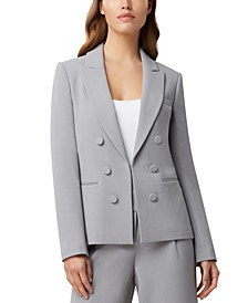 Faux-Double-Breasted Crepe Blazer