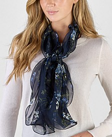 Floral Double Ruffle Silk Scarf