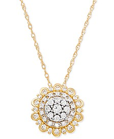 "Diamond Flower 18"" Pendant Necklace (1/4 ct. t.w.) in 10k Gold"