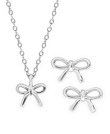 Children's Bow Pendant Necklace and Stud Earrings Two Piece Set in Sterling Silver
