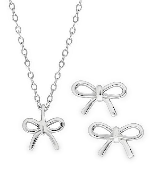 Rhona Sutton Children's Bow Pendant Necklace and Stud Earrings Two Piece Set in Sterling Silver