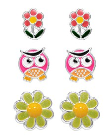 Children's  Owl, Blossom, Flower Stud Earrings - Set of 3 in Sterling Silver