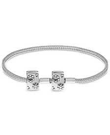 Children's  Floral Clasp Foxtail Chain Charm Carrier Bracelet with Stopper in Sterling Silver