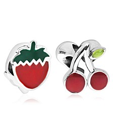 Children's  Enamel Strawberry Cherry Bead Charms - Set of 2 in Sterling Silver
