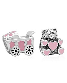Children's  Enamel Stroller Teddy Bear Bead Charms - Set of 2 in Sterling Silver