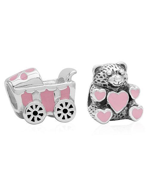 Rhona Sutton Children's  Enamel Stroller Teddy Bear Bead Charms - Set of 2 in Sterling Silver