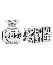 Children's  Special Sister Bead Charms - Set of 2 in Sterling Silver