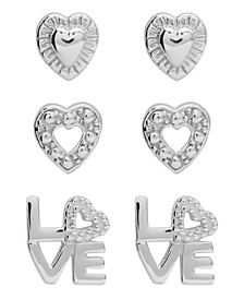 Children's  Hearts Love Stud Earrings - Set of 3 in Sterling Silver