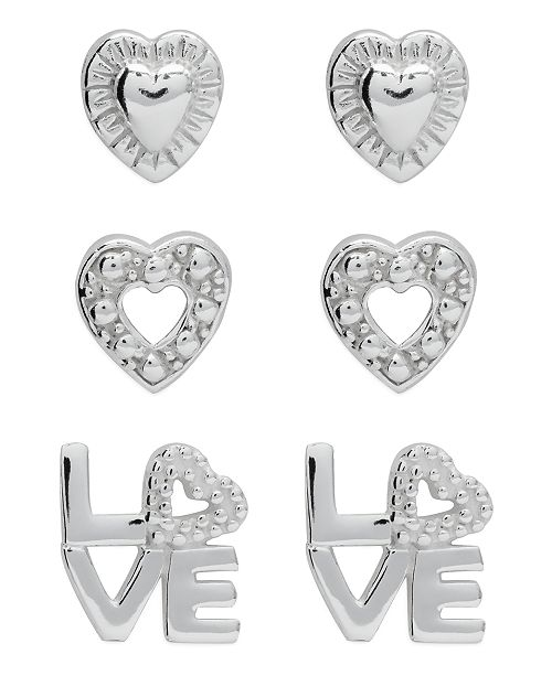 Rhona Sutton Children's  Hearts Love Stud Earrings - Set of 3 in Sterling Silver