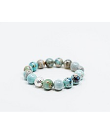 Aqua Terra Agate Gemstone with Hammered Silver Focal Bead Bracelet