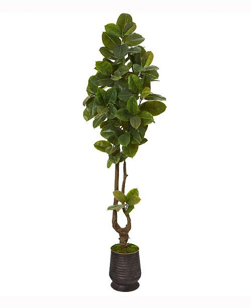 Nearly Natural 83in. Rubber Leaf Artificial Tree in Ribbed Metal Planter Real Touch