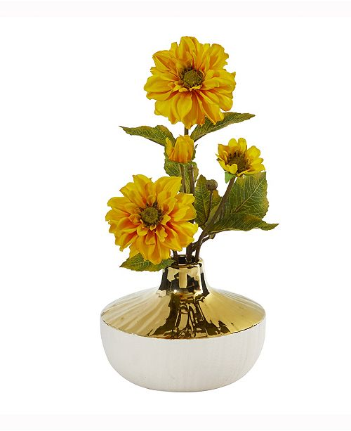 Nearly Natural 15in. Zinnia Artificial Arrangement in Gold and Cream Elegant Vase