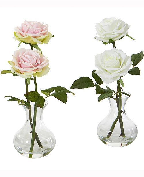 Nearly Natural 11in. Rose Artificial Arrangement in Glass Vase Set of 2