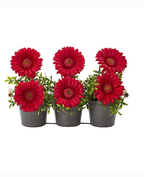 Nearly Natural 14in. Gerber Daisy Artificial Arrangement in Trio Metal Vase