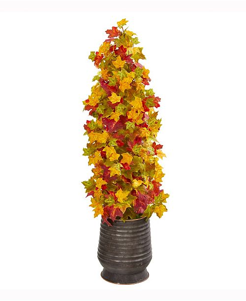 Nearly Natural 43in. Autumn Maple Artificial Tree in Ribbed Metal Planter