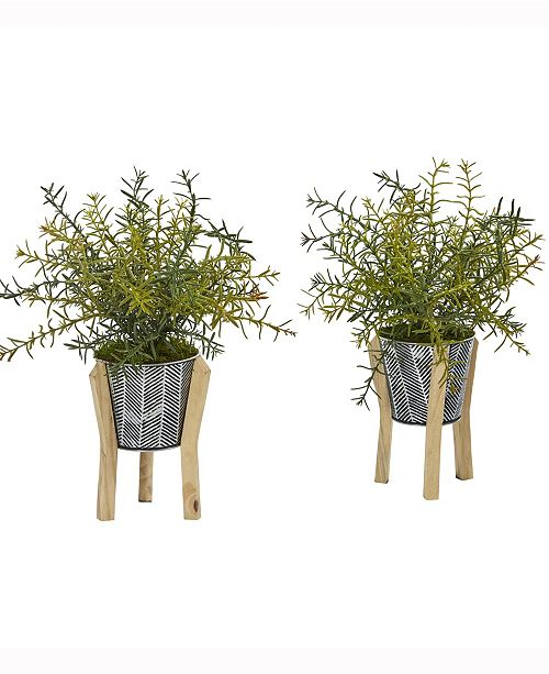 Nearly Natural 14in. Rosemary Artificial Plant in Tin Planter with Legs Set of 2