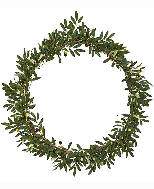 Nearly Natural 28in. Olive Artificial Wreath