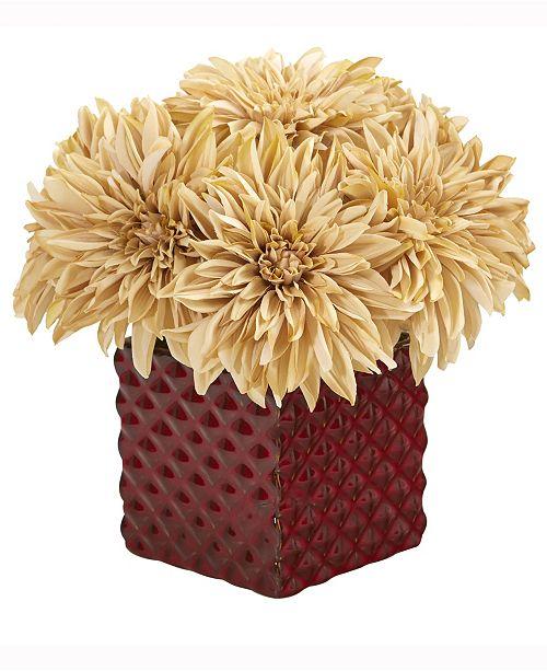 Nearly Natural 11in. Dahlia Artificial Arrangement in Red Ceramic Cube