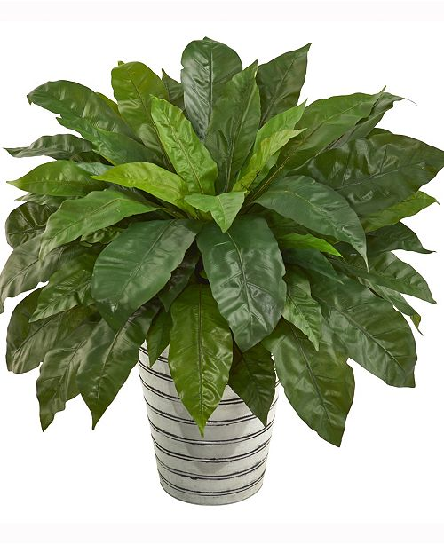 Nearly Natural 33in. Bird's Nest Fern Artificial Plant in Tin Bucket