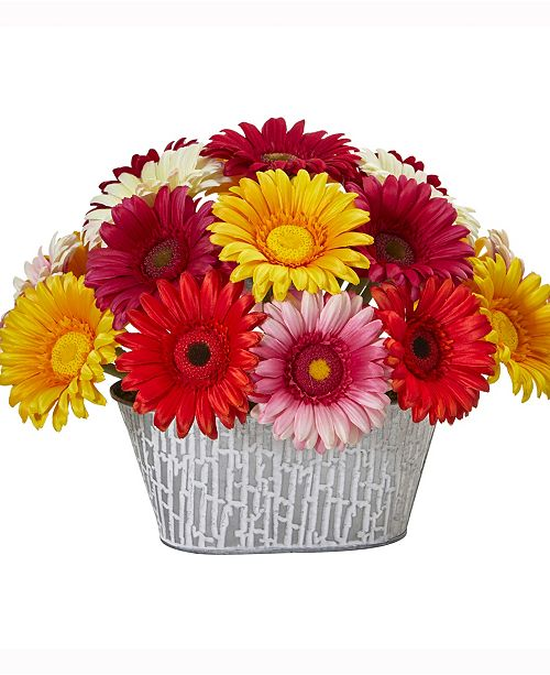 Nearly Natural 9in. Gerber Daisy Artificial Arrangement in White Tin Vase