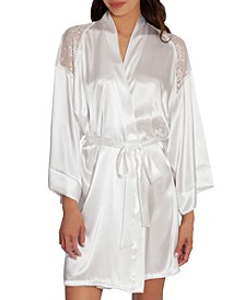 Lace-Trim Charmeuse Wrapper Robe