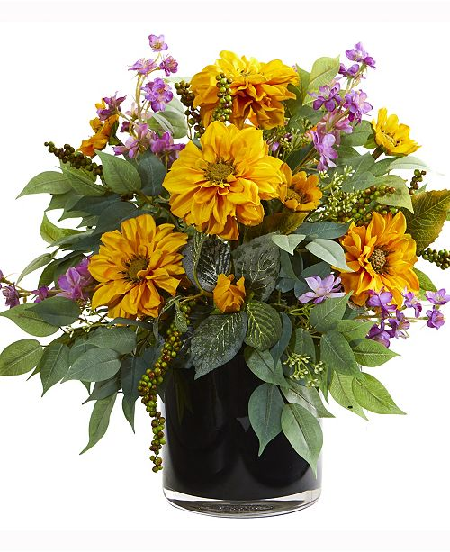 Nearly Natural 16in. Dancing Daisy, Zinnia and Mixed Greens Artificial Arrangement in Black Vase