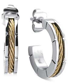 Small Hoop Cable Earrings in Stainless Steel & Gold-Tone PVD, 1""