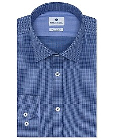 Men's Ultimate Slim-Fit Non-Iron Performance Stretch Dark Blue Dobby Dress Shirt, Created for Macy's