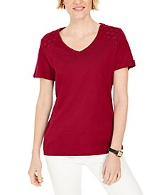 Eyelet-Shoulder V-Neck Top, Created For Macy's