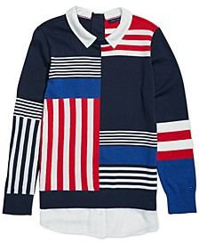 Women's Striped Sweater With Magnetic Buttons