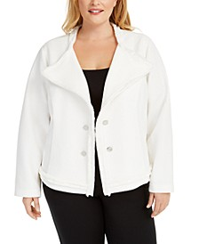 Plus Size Textured Knit Jacket