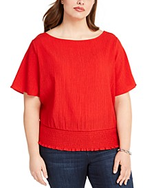 Plus Size Gathered-Waist Top