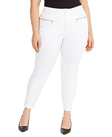 Plus Size Zippered-Pocket Pants