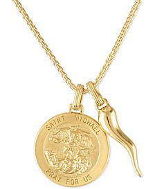 "St. Michael Medallion & Horn 24"" Pendant Necklace in 14k Gold-Plated Sterling Silver, Created for Macy's"
