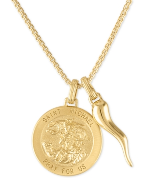 """St. Michael Medallion & Horn 24"""" Pendant Necklace in 14k Gold-Plated Sterling Silver"""