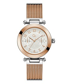 Gc Women's Prime Chic Mesh Rose-Gold Stainless Steel Mesh Bracelet Watch 36.5mm