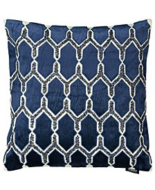 "Blue Collection Shooting Star Beaded Pillow, 20"" x 20"""