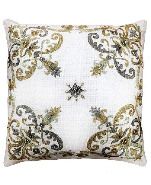 """Mod Lifestyles Gold Collection Tray Scrolls Corners Embroidery Pillow, 20"""" x 20"""""""